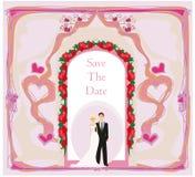 Элегантное приглашение свадьбы с парами свадьбы Стоковое Фото