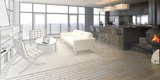 Элегантность чертежа просторной квартиры иллюстрация вектора