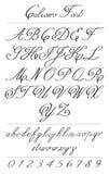 Элегантные письма каллиграфии с florishes Шрифт Coliostro Стоковое фото RF