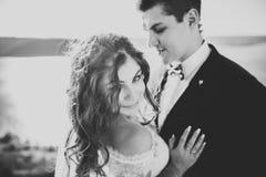 Элегантные стильные счастливые пары свадьбы, невеста, шикарный groom на предпосылке моря и небо Стоковая Фотография RF