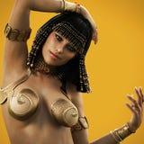 Элегантный египетский женский представлять с предпосылкой цвета иллюстрация вектора