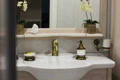 Элегантный интерьер ванной комнаты в современной квартире Стоковые Фотографии RF