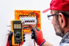 Электрик на работе на электрической панели стоковое фото rf