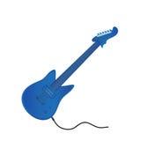 Электрическая гитара в голубом цвете На белой предпосылке также вектор иллюстрации притяжки corel Звучите, что извлечь Стоковое Изображение