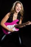 электрическая гитара девушки стоковое фото rf