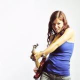 электрическая гитара девушки Стоковая Фотография RF