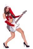 электрическая гитара играя женщину santa Стоковое Фото