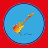 электрическая гитара Стикер эмблемы, шаблон также вектор иллюстрации притяжки corel саксофон части аппаратуры hornsection музыкал Стоковые Изображения
