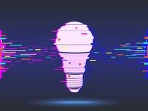 Электрическая лампочка, дизайн небольшого затруднения, неоновый значок, абстрактная предпосылка вектор Стоковые Изображения RF