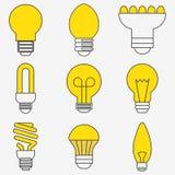 Электрическая лампочка и лампа СИД также вектор иллюстрации притяжки corel иллюстрация штока