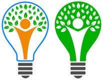 Электрическая лампочка с логотипом дерева людей Стоковая Фотография RF