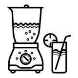 Электрическая машина смесителя blender делая сок диеты вытрезвителя с дыней и ананасом крыжовника клубники кивиа банана яблока пл иллюстрация штока