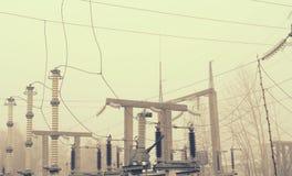 Электрическая подстанция высокого напряжения с элементами изолируя структур Стоковая Фотография RF