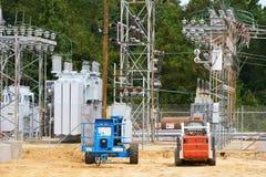 Электрическая подстанция под конструкцией Стоковая Фотография