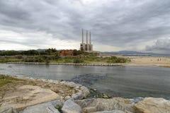 Электрическая станция на Sant Adria del Besos стоковые фотографии rf
