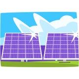 Электрическая станция солнечной энергии, экологическая энергия производящ станцию, иллюстрацию вектора возобновимых ресурсов гори Стоковое Фото