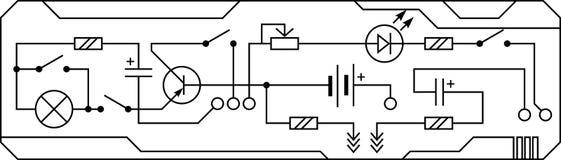Электрическая цепь сопротивления прибора радио, транзистор, диод, конденсатор, индуктор иллюстрация штока