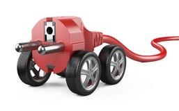 Электрическая штепсельная вилка на колесах автомобиля Красная концепция силы Стоковые Фото