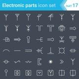 Электрические и электронные значки, электрические символы диаграммы Распределение антенн, антенн, волноводов, ТВ и радио Стоковое Фото