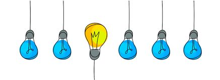 Электрические лампочки, концепция идеи иллюстрация штока