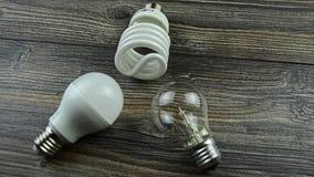 Электрические лампочки СИД, лампочка накаливания, энергосберегающая электрическая лампочка видеоматериал