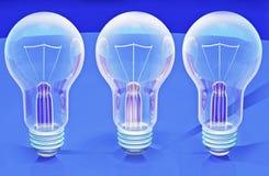 Электрические лампочки 3d стоковое фото rf