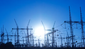 электрические линии опора силы Стоковое фото RF