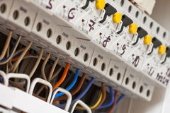 электрические линии сила fuseboxes Стоковые Фотографии RF