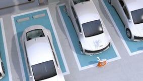 Электрический автомобиль покидая место для стоянки делить автомобиля акции видеоматериалы