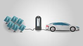 Электрический автомобиль поручая на станции заряжателя используя энергию Rrenewable Взволнованность Electromobility и возобновляю иллюстрация штока