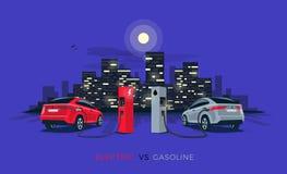 Электрический автомобиль против автомобиля бензина с горизонтом города ночи Стоковая Фотография RF