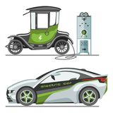 Электрический автомобиль с заряжателем автомобильного аккумулятора гнезда автомобиля иллюстрации вектора перехода eco панелей сол Стоковое Фото