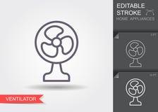 Электрический вентилятор Линия значок с editable ходом с тенью бесплатная иллюстрация