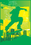 электрический зеленый конькобежец Стоковые Фотографии RF