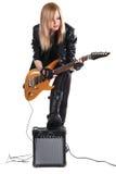 электрический играть гитары девушки подростковый Стоковое Изображение