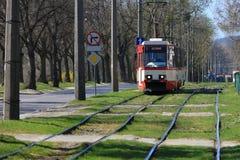 электрический красный трам Стоковые Фотографии RF