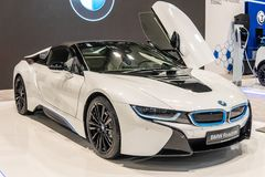 Электрический родстер BMW i8, автомобиль eco EV дружелюбный изготовленный и выведенный вышед на рынок на рынок BMW стоковые фото