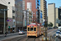 Электрический трам на улице Стоковая Фотография