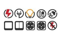 10 электрических логотипов значка Стоковое фото RF
