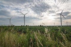 электричество производя ветер турбин concep сбережений энергии стоковая фотография