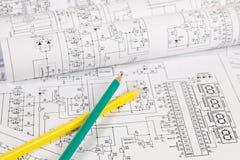Электроника и инженерство Напечатанные чертежи электрического circ Стоковое Изображение