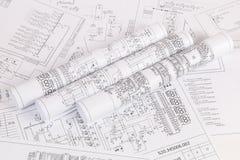 Электроника и инженерство Напечатанные чертежи электрического circ Стоковые Фото