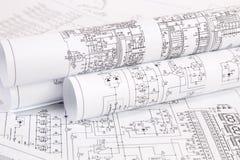 Электроника и инженерство Напечатанные чертежи электрического circ Стоковое Изображение RF