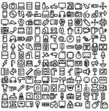 Электроника и линия значки приборов смелая которая может легко доработанный или редактировать иллюстрация штока