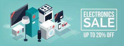 Электроника и продажа приборов выдвиженческая иллюстрация вектора