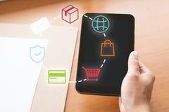 Электронная коммерция и онлайн принципиальная схема покупок стоковое изображение rf