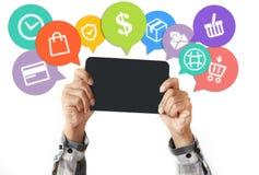 Электронная коммерция и онлайн принципиальная схема покупок стоковое изображение