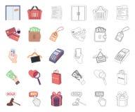 Электронная коммерция, мультфильм купли и продажи, значки плана в установленном собрании для дизайна Запас символа вектора торгов иллюстрация штока