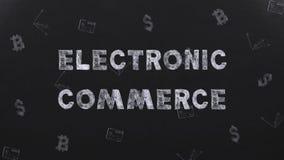 ЭЛЕКТРОННАЯ КОММЕРЦИЯ названия на долларах чертежей предпосылки, bitcoin и кредитной карточке видеоматериал