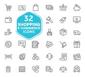 Электронная коммерция, онлайн покупки и элемент доставки иллюстрация штока